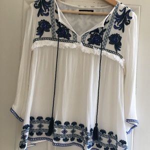 Anthropologie Embroidered flowy blouse